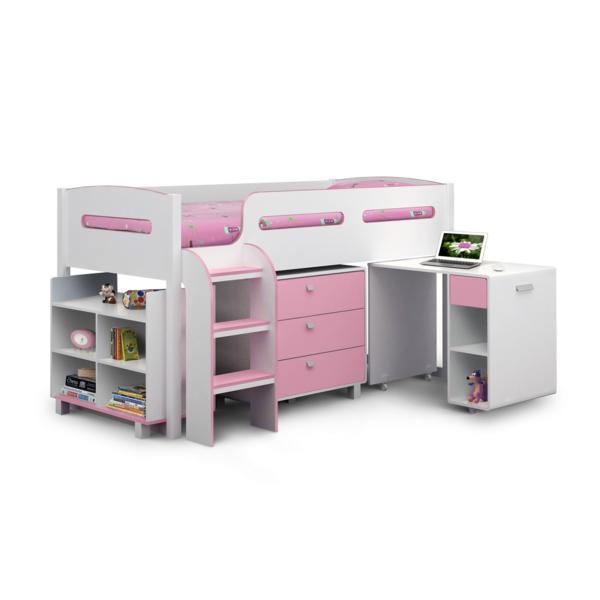 Julian Bowen Kimbo Cabin Bed in Pink with FREE MATTRESS £349